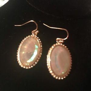 Iridescent Earrings in Gold Tone Setting NWOT